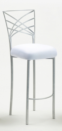 Silver Fanfare Barstool with White Stretch Knit Cushion (2)
