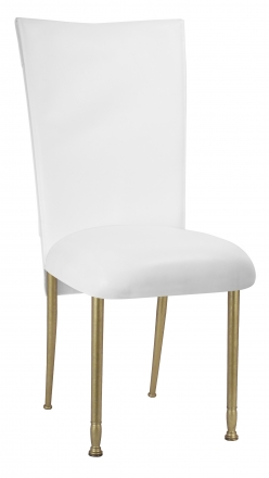 White Tiered Leatherette Chair Cover and Cushion on Gold Legs (2)