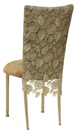 Burlap Chantilly 3/4 Chair Cover with Camel Suede Cushion on Gold Legs (1)