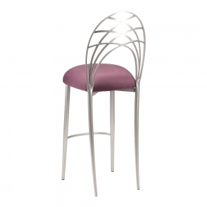 Silver Piazza Barstool with Lilac Suede Cushion (1)