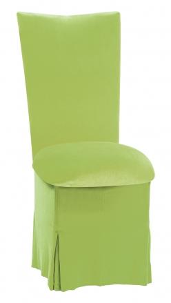 Lime Green Velvet Chair Cover, Cushion and Skirt (2)