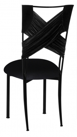 Black Velvet Criss Cross Chair Cover and Cushion on Black Legs (1)