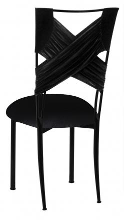 Black Velvet Criss Cross Chair Cover and Cushion on Black Legs (1)