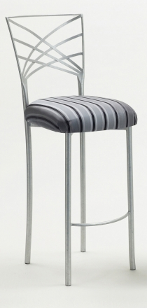 Silver Fanfare Barstool with Charcoal Stripe Cushion (2)