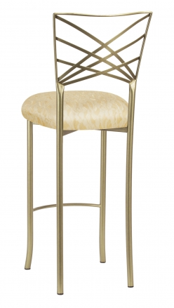 Gold Fanfare Barstool with Ivory Lace over Ivory Knit Cushion (1)