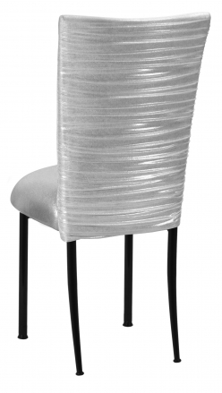 Chloe Metallic Silver on White Foil Chair Cover and Cushion on Black Legs (1)