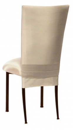 Champagne Dupioni Chair Cover with Champagne Bengaline Cushion on Brown Legs (1)