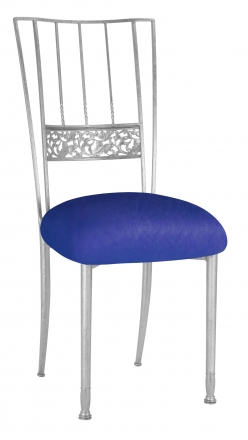 Silver Bella Fleur with Royal Blue Stretch Knit Cushion (2)