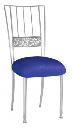 Silver Bella Fleur with Royal Blue Stretch Knit Cushion (2)