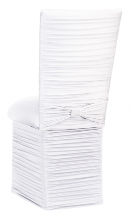 Chloe White Stretch Knit Chair Cover with Rhinestone Accent Band, Cushion and Skirt (1)