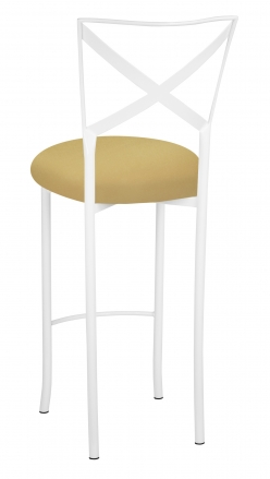 Simply X White Barstool with Gold Stretch Knit Cushion (1)