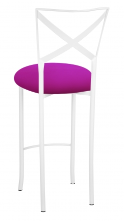 Simply X White Barstool with Magenta Stretch Knit Cushion (1)