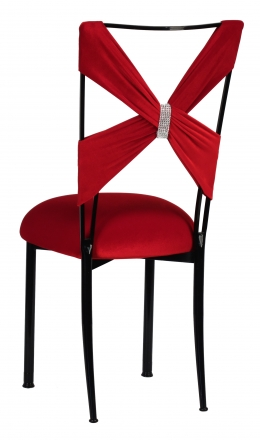 Red Velvet Sweetheart Topper with Rhinestone Accent and Cushion on Black Legs  (1)