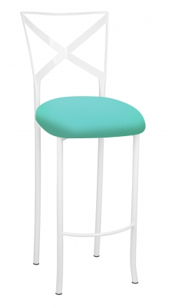Simply X White Barstool With Aqua Stretch Knit Cushion 2