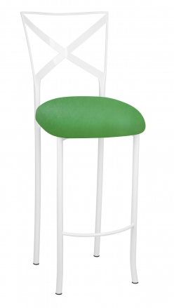 Simply X White Barstool with Kelly Green Stretch Knit Cushion (2)