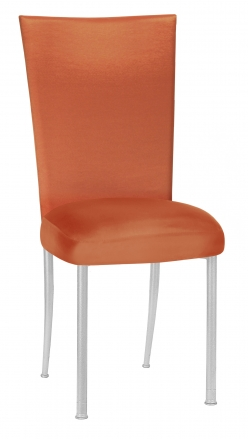 Orange Taffeta Chair Cover with Boxed Cushion on Silver Legs (2)