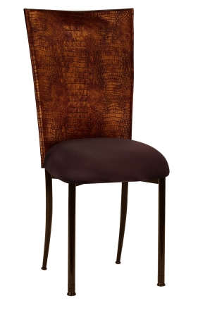 Bronze Croc Chair Cover with Chocolate Stretch Knit Cushion on Brown Legs (2)