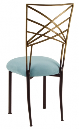 Two Tone Gold Fanfare with Ice Blue Suede Cushion (1)