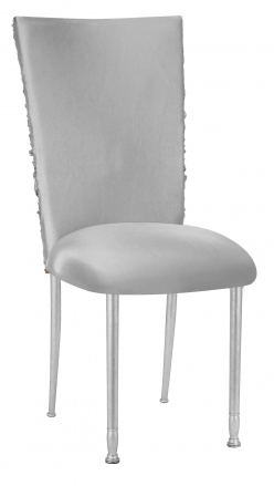 Silver Demure Chair Cover with Jeweled Band and Silver Stretch Knit Cushion on Silver Legs (2)