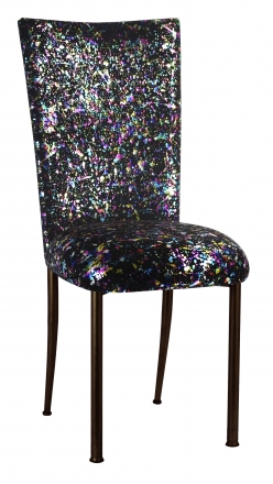 Black Paint Splatter Chair Cover and Cushion on Brown Legs (2)