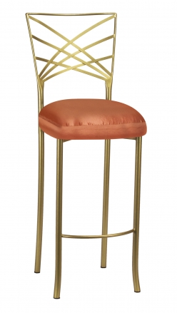 Gold Fanfare Barstool with Orange Taffeta Boxed Cushion (2)