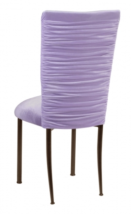 Chloe Lavender Velvet Chair Cover and Cushion on Brown Legs (1)