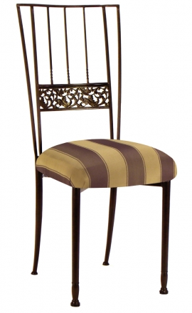 Mahogany Bella Fleur with Gold and Brown Stripe Cushion (2)