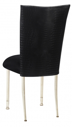 Matte Black Croc Chair Cover with Black Stretch Knit Cushion on Ivory Legs (1)