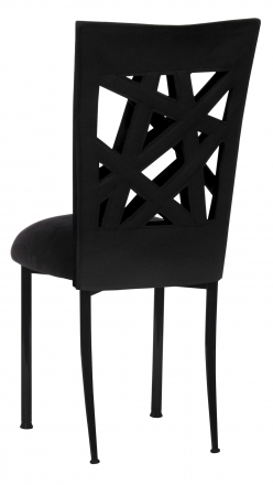 Geometric Chair Cover with Black Suede Cushion on Black Legs (1)