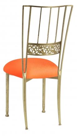 Gold Bella Fleur with Tangerine Stretch Knit Cushion (1)