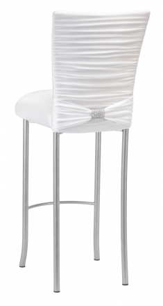 Chloe White Stretch Knit Barstool Cover with Rhinestone Accent Band and Cushion on Silver Legs (1)