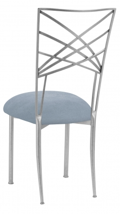 Silver Fanfare with Ice Blue Suede Cushion (1)