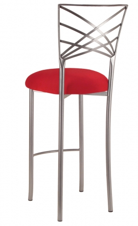 Silver Fanfare Barstool with Red Stretch Knit Cushion (1)