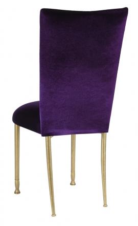 Deep Purple Velvet Chair Cover and Cushion on Gold Legs (1)