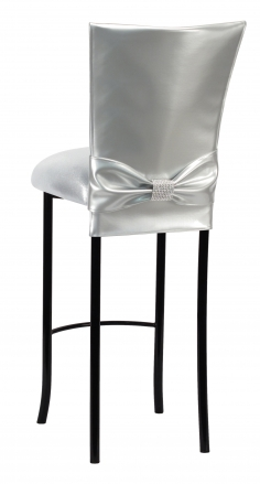 Silver Patent Barstool 3/4 Chair Cover with Rhinestone Accent Belt and Metallic Silver Stretch Knit Cushion on Black Legs (1)