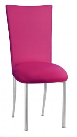 Chloe Fuchsia Stretch Knit Chair Cover and Cushion on Silver Legs (2)