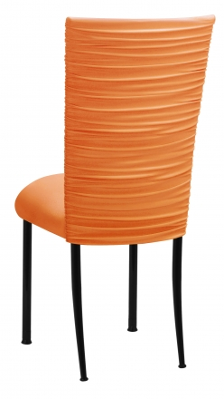 Chloe Tangerine Stretch Knit Chair Cover and Cushion on Black Legs (1)