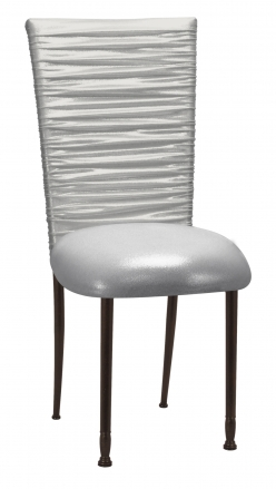 Chloe Metallic Silver on White Foil Chair Cover and Cushion on Mahogany Legs (2)