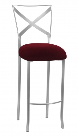Silver Simply X Barstool with Cranberry Velvet Cushion (2)