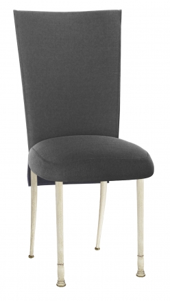 Charcoal Linette Chair Cover and Boxed Cushion on Ivory Legs (2)