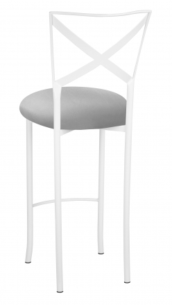 Simply X White Barstool with Silver Stretch Knit Cushion (1)