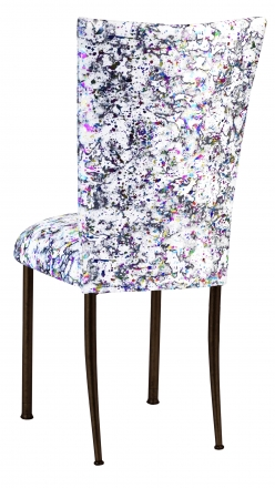 White Paint Splatter Chair Cover and Cushion on Brown Legs (1)