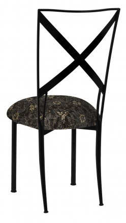 Blak. with Black Lace with Gold and Silver Accents over Black Knit Cushion (1)