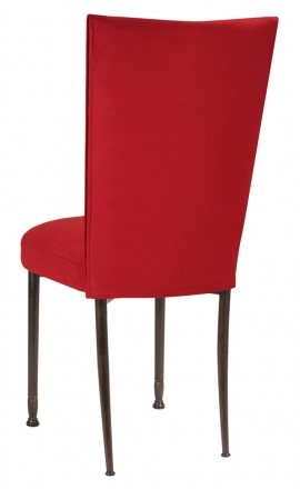 Rhino Red Suede Chair Cover and Cushion on Mahogany Legs (1)