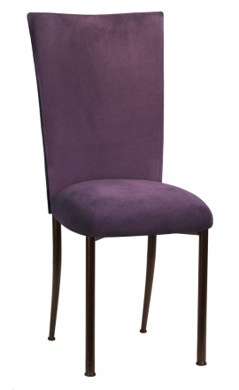 Lilac Suede Chair Cover and Cushion on Brown Legs (2)