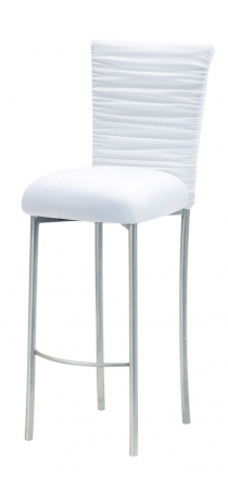Chloe White Stretch Knit Barstool Cover with Jewel Band and Cushion on Silver Legs (2)