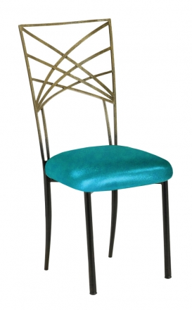 Two Tone Gold Fanfare with Metallic Teal Cushion (2)