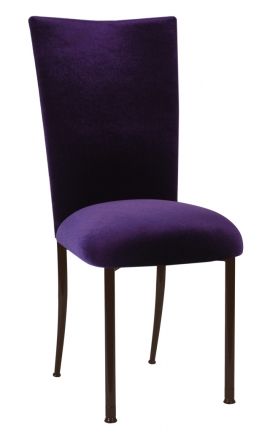 Deep Purple Velvet Chair Cover and Cushion on Brown Legs (2)