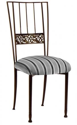 Mahogany Bella Fleur with Charcoal Stripe Cushion (2)