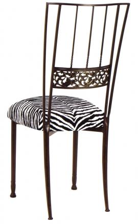 Mahogany Bella Fleur with Zebra Leatherette Cushion (1)